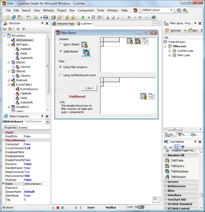 TABSDatabase Screenshot