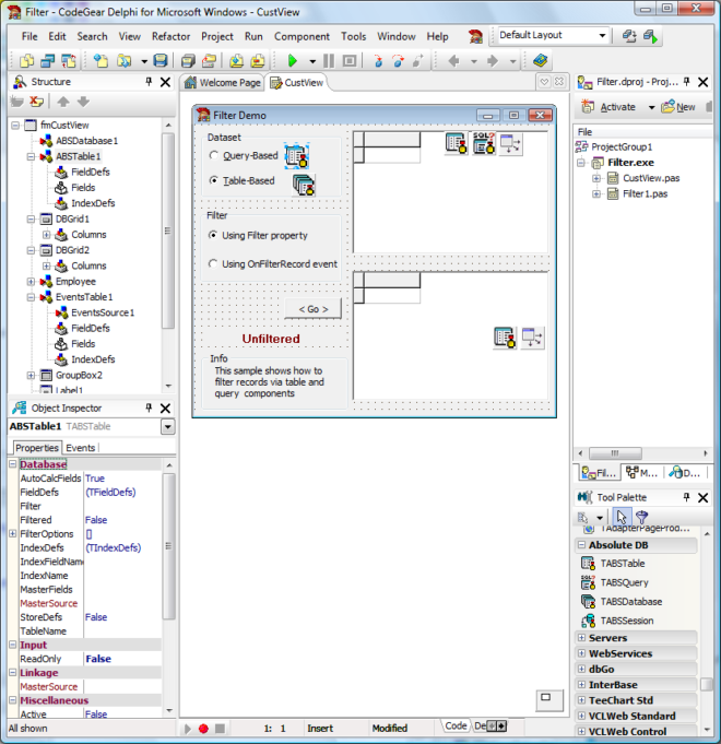 TABSTable Screenshot